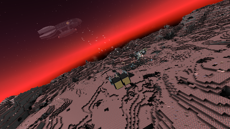 The surface of a Red planet, with a starship engaging in combat with a base established on the planet.